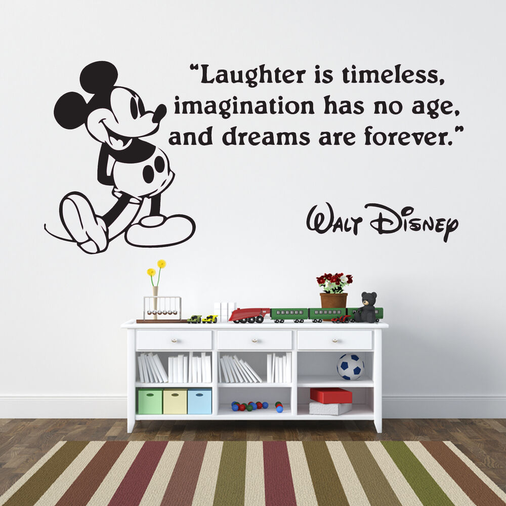Disney mickey mouse laughter quote wall decal sticker art for Disney wall mural stickers