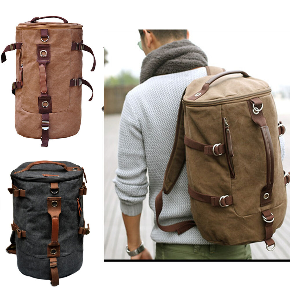 Men Hiking Canvas Leather School Military Shoulder Bag ...