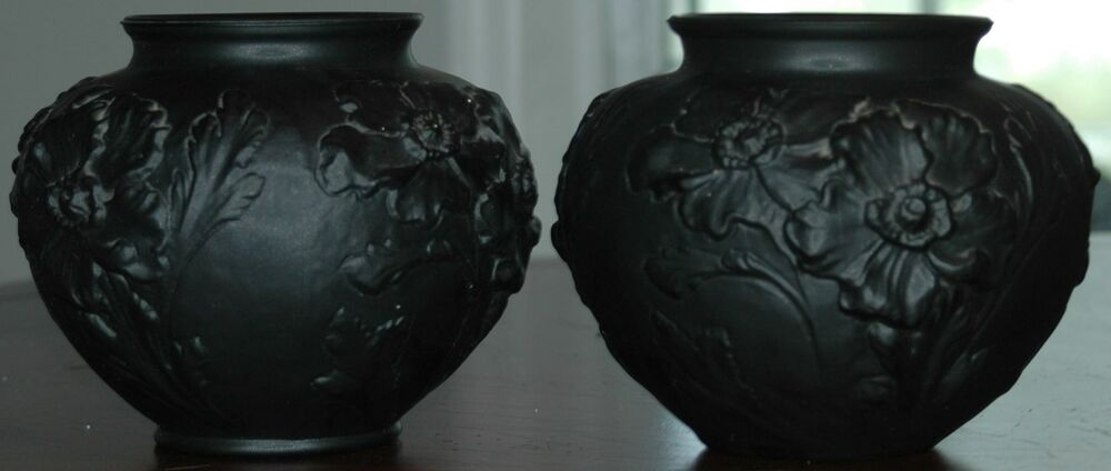 Vintage Pair Of Tiffin Black Glass Vases Amethyst Satin Poppys Floral Ebay