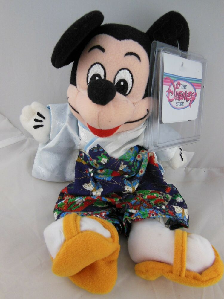 Adorable 9 mickey mouse in japanese kimono beanbag the disney store mwt ebay - Disney store mickey mouse ...
