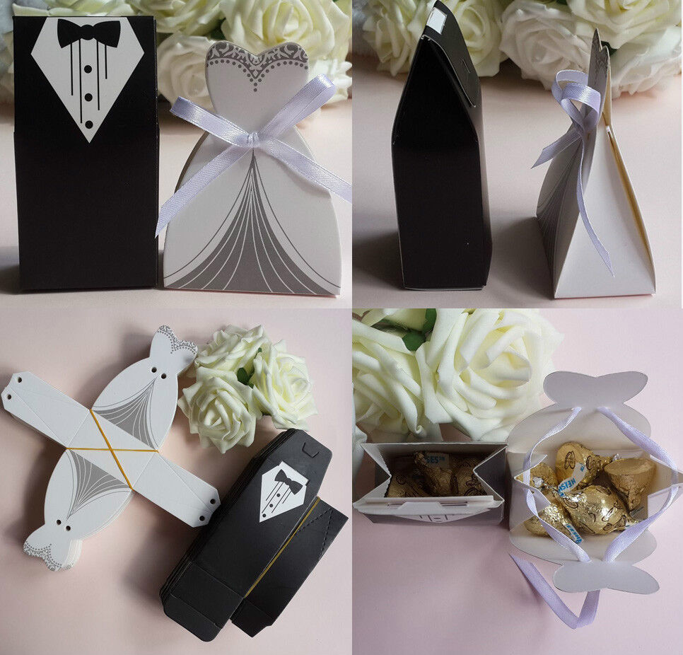 Wedding Gifts Boxes: 50pc Tuxedo Dress W/Ribbon Groom Bridal Wedding Party
