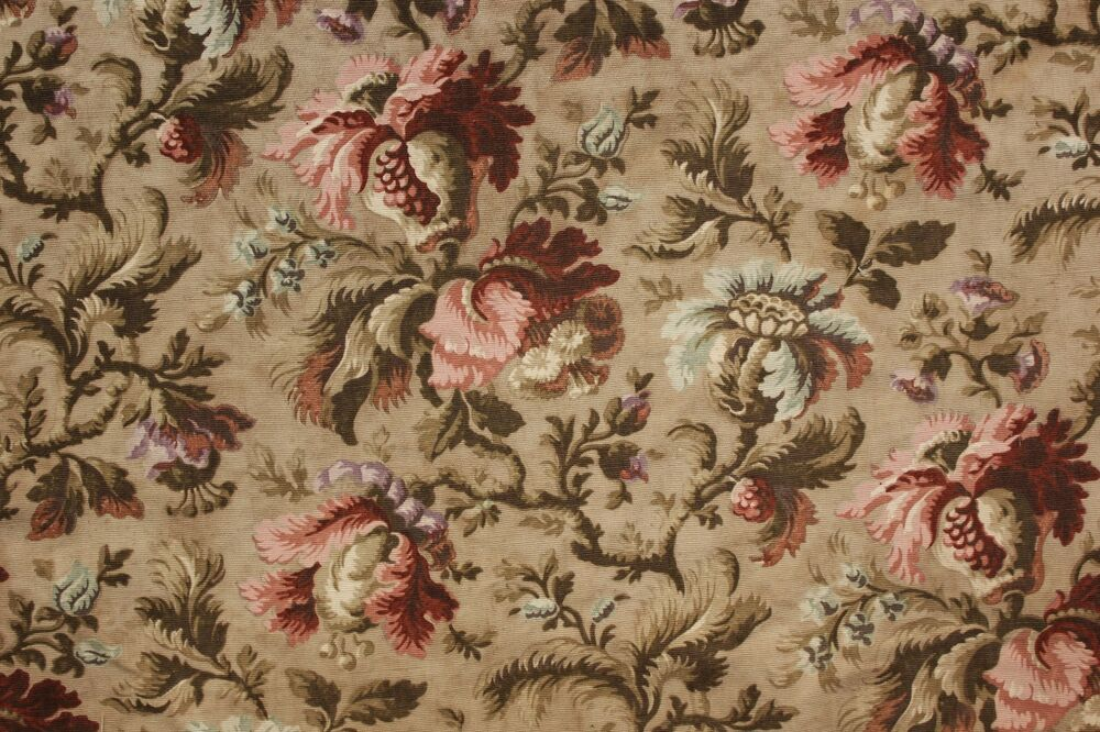 Upholstery fabric Vintage French cotton heavy c1900 floral