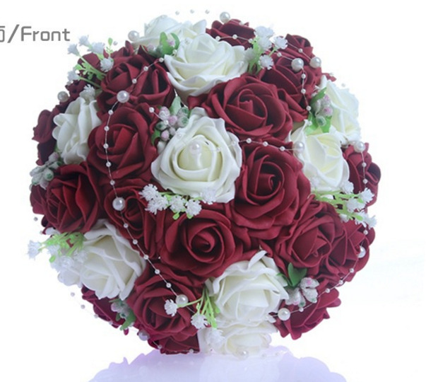 Red Rose Wedding Flowers: Wedding Bridal Bouquet Wine Red&Ivory Roses W/Pearl