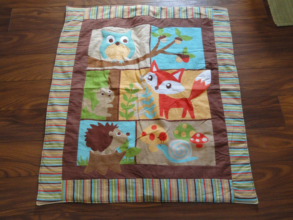 Handmade Homemade Baby Quilts Owl Fox Amp Hedgehog Ebay