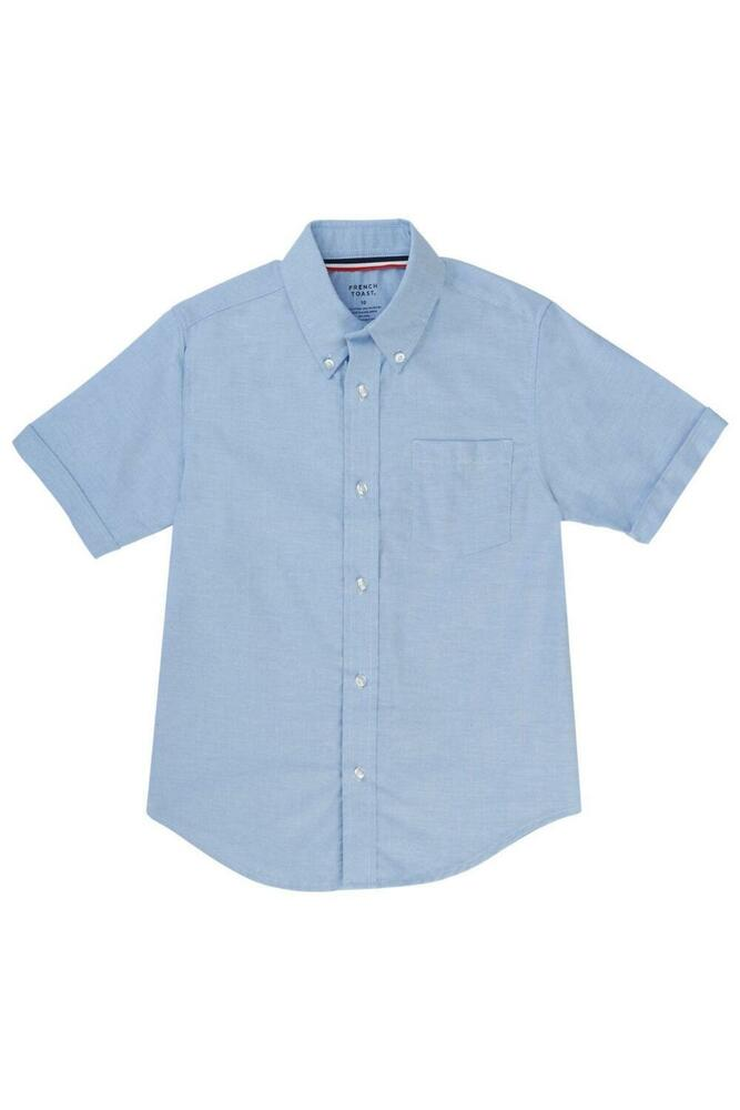 Boys Girls Blue Oxford Shirt French Toast Short Sleeve