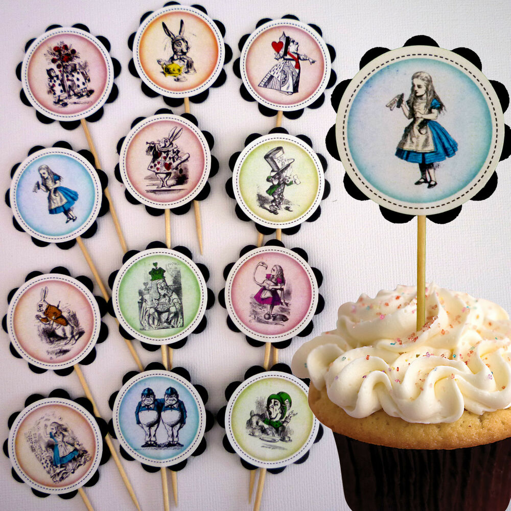 Vintage alice in wonderland cupcake toppers cake picks x for New home cupcake decorations