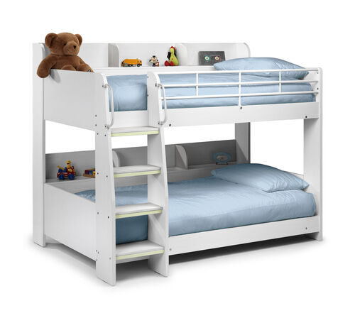 Kids White Bunk Bed Solid Sturdy Julian Bowen Domino