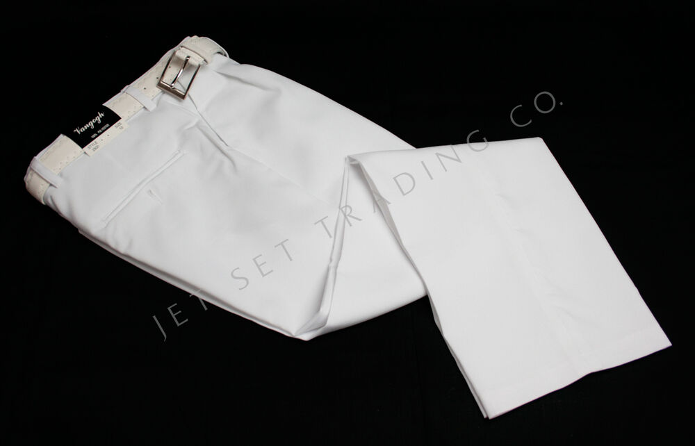 BOYS WHITE DRESS PANTS PLEATED TROUSERS W/ITH WHITE BELT Sizes 4 ...