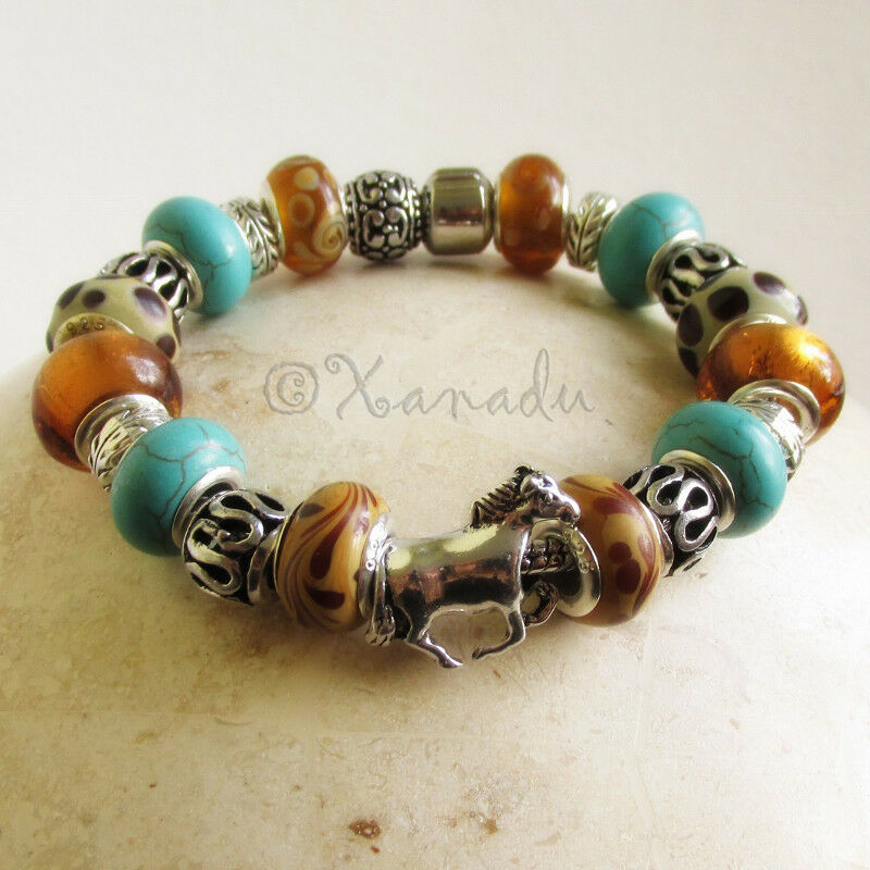 European Charm Bracelets: Turquoise Gemstone And Amber Brown Lampwork Glass Horse
