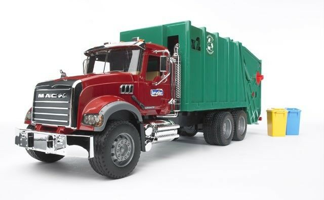 Bruder Toys Mack Granite Garbage Truck In Red And Green