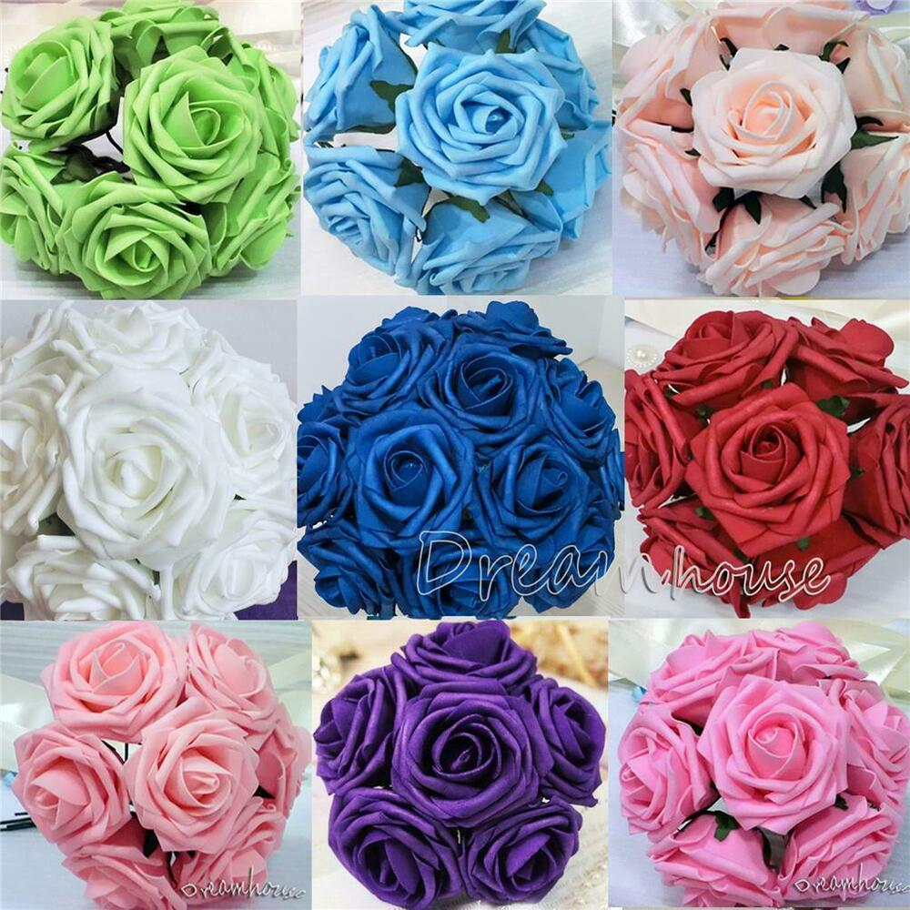 100 real touch roses wedding bridal bouquet decor artificial flower wholesale 3 ebay. Black Bedroom Furniture Sets. Home Design Ideas