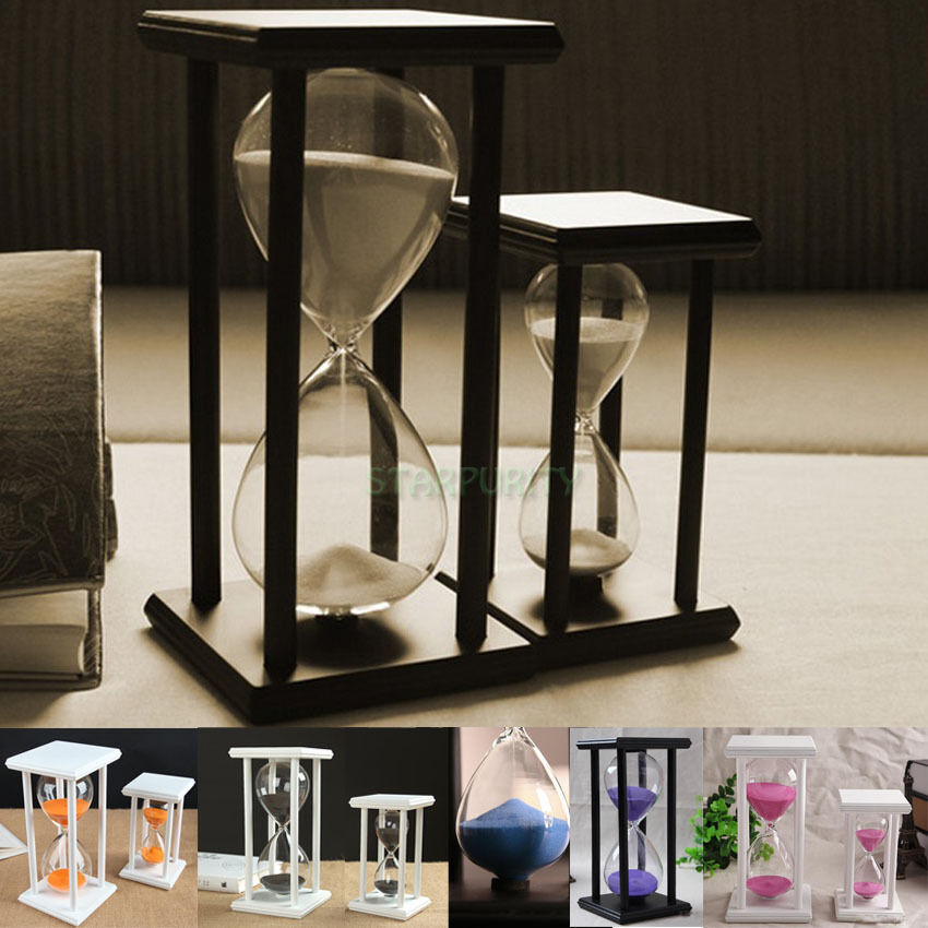 Colors 30 60min wooden sand sandglass hourglass timer for Unusual decorative accessories