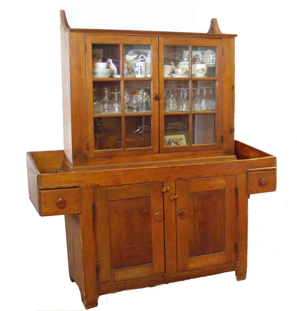 19c antique 2pc primitive hanging china cabinet hutch and