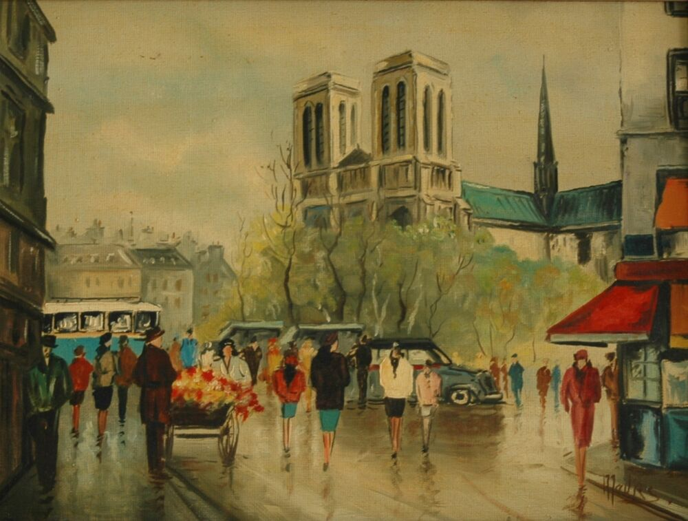 Original European Style Oil Painting Cityscape W Flower ... - photo#37