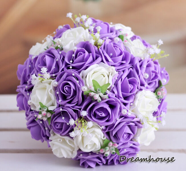 Handmade Sweet Wedding Bridal Bouquet Ivory&Purple Roses W