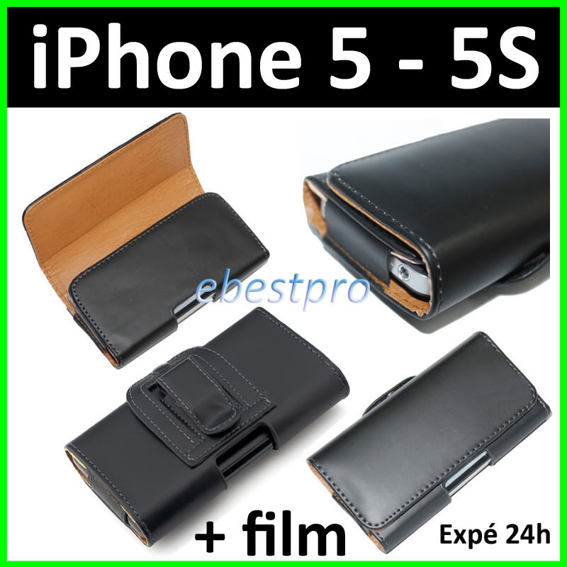accessoire housse coque etui pochette pu cuir clip ceinture iphone 5 5s film ebay. Black Bedroom Furniture Sets. Home Design Ideas