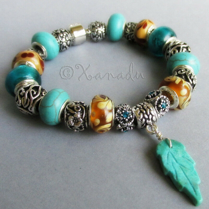 European Charm Bracelets: Turquoise, Amber Brown Glass And Silver Enchanted Forest