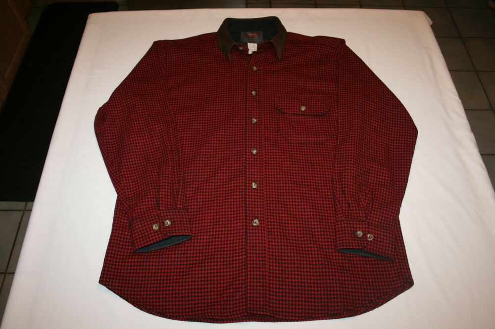 Vtg Woolrich Red Black Buffalo Plaid Wool Shirt M Lands