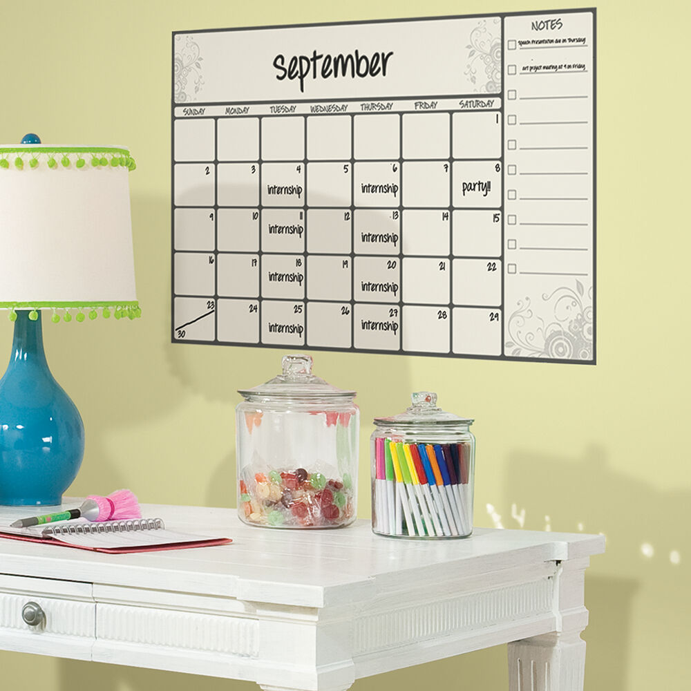 Dry Erase Calendar Decal : New giant dry erase board calendar wall decals peel