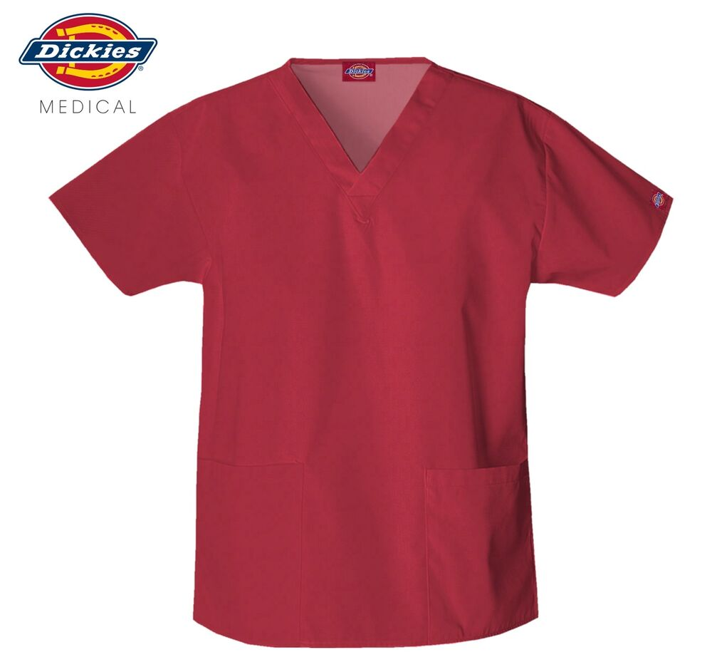 DICKIES UNISEX RED V-NECK TOP TWO POCKET MEDICAL SCRUBS ...