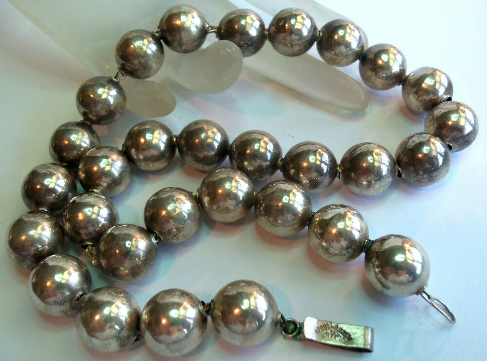 Mexico Sterling Silver 925 Designer Bead Necklace
