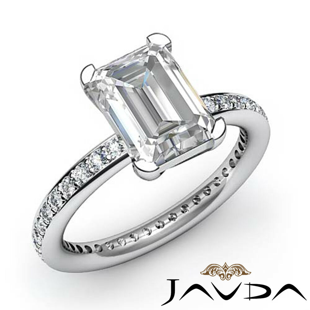 lustrous emerald cut engagement ring certified