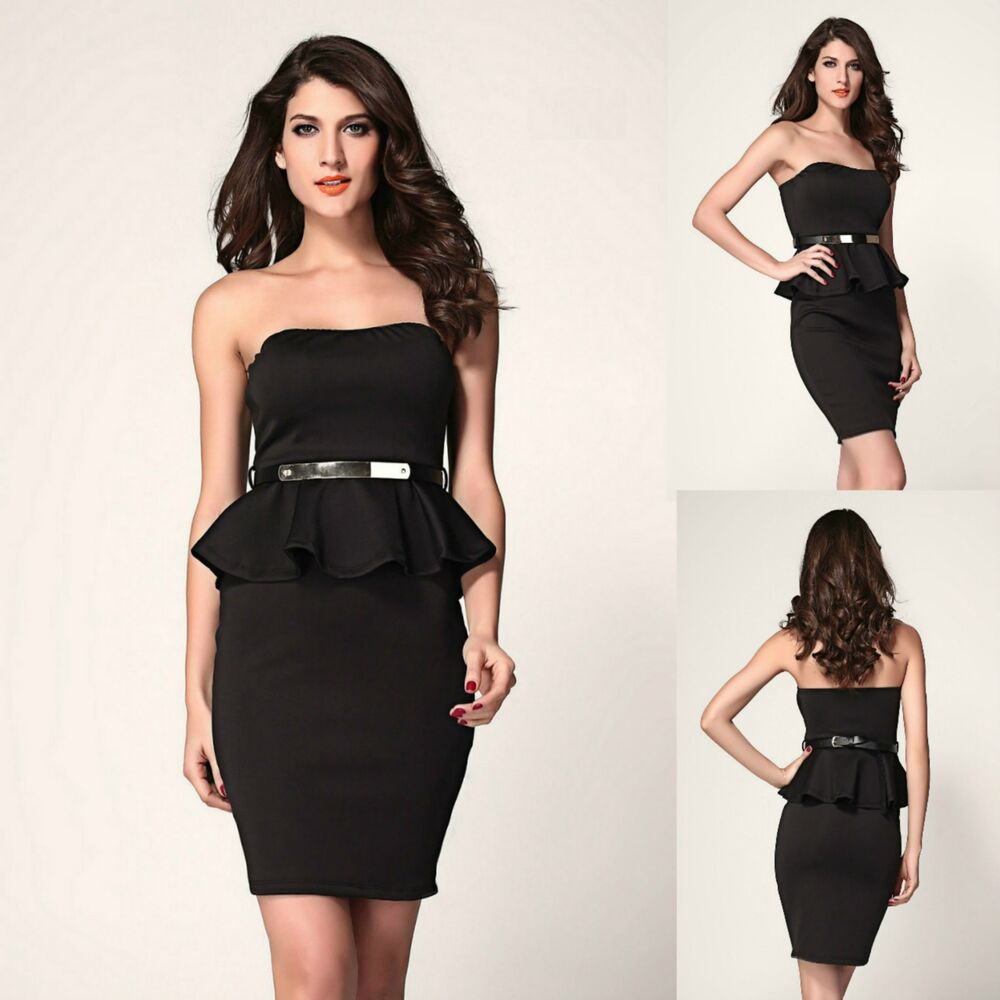 Sexy Black w Belt Strapless Cocktail Party Dance Formal ...