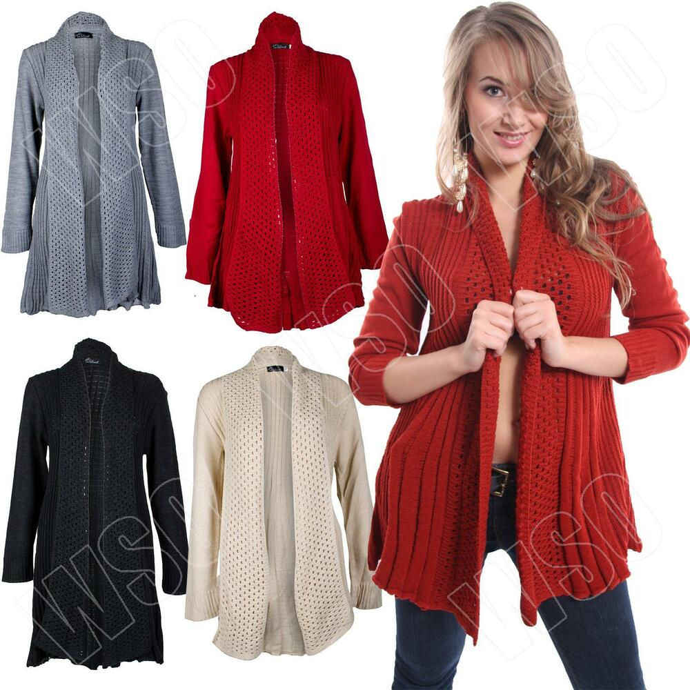 New Womens Ladies Long Crochet Knitted Waterfall Cardigan Size 8-10-12-14-16 ...