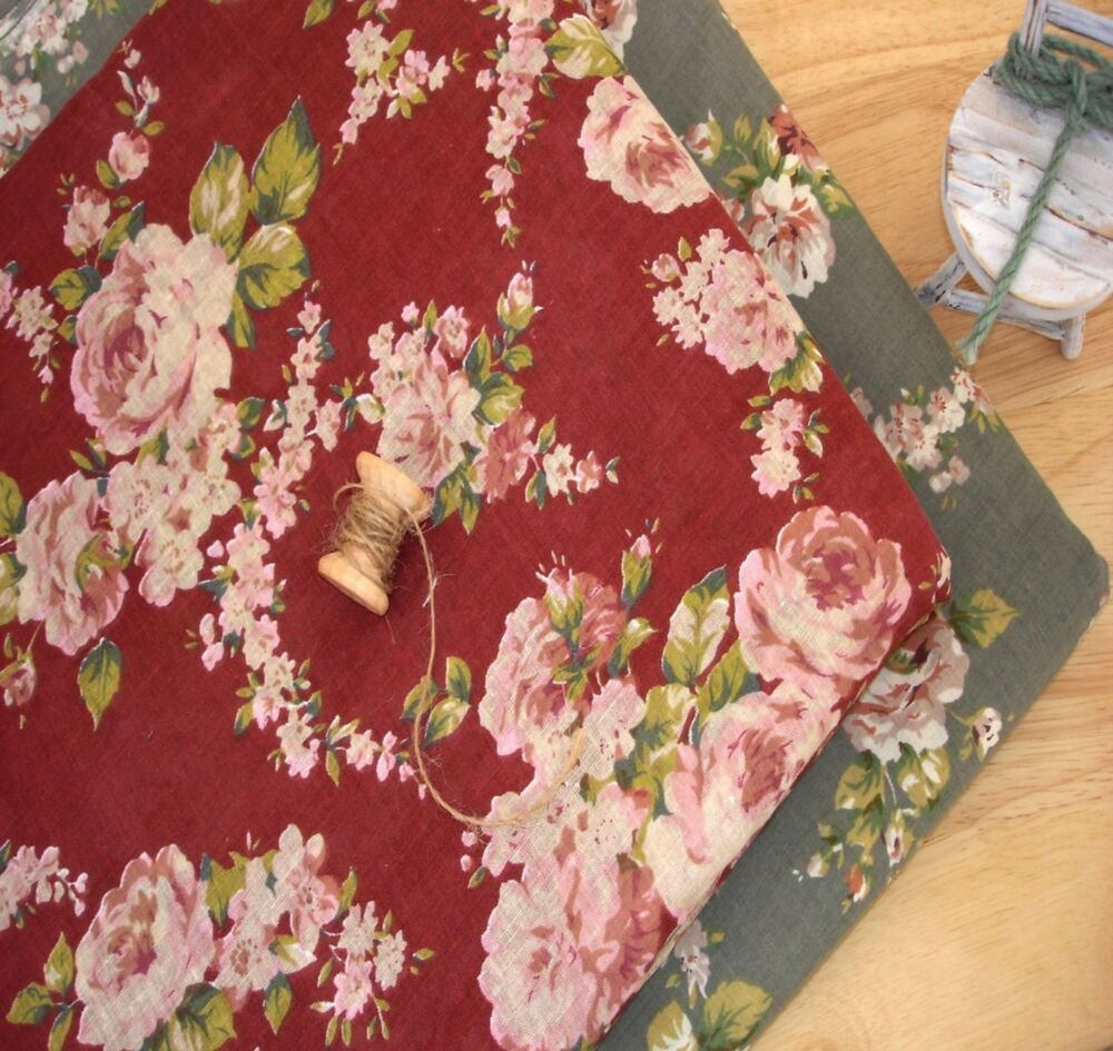 vintage cottage shabby chic french roses 100 cotton fabric wine 50x47cm ebay. Black Bedroom Furniture Sets. Home Design Ideas