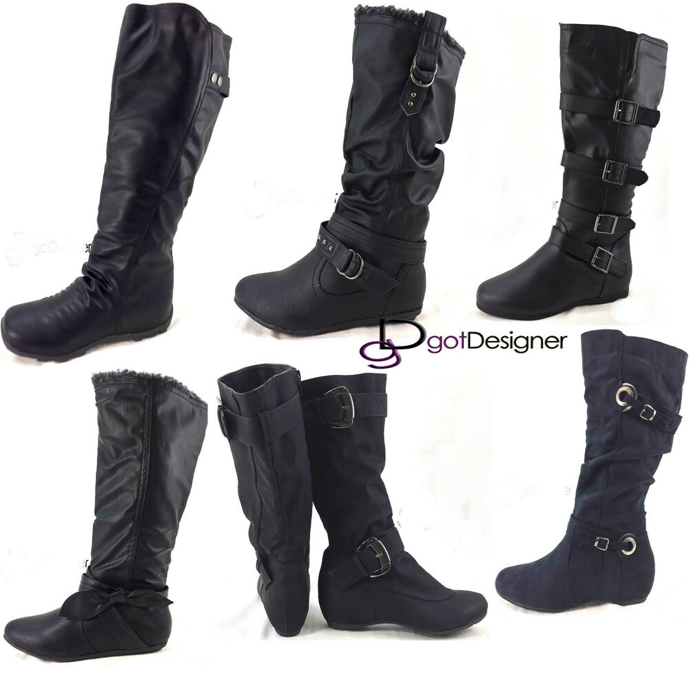 New Womens Fashion Shoes Black Riding Knee High Boots Winter Slouch Flat Comfort Ebay