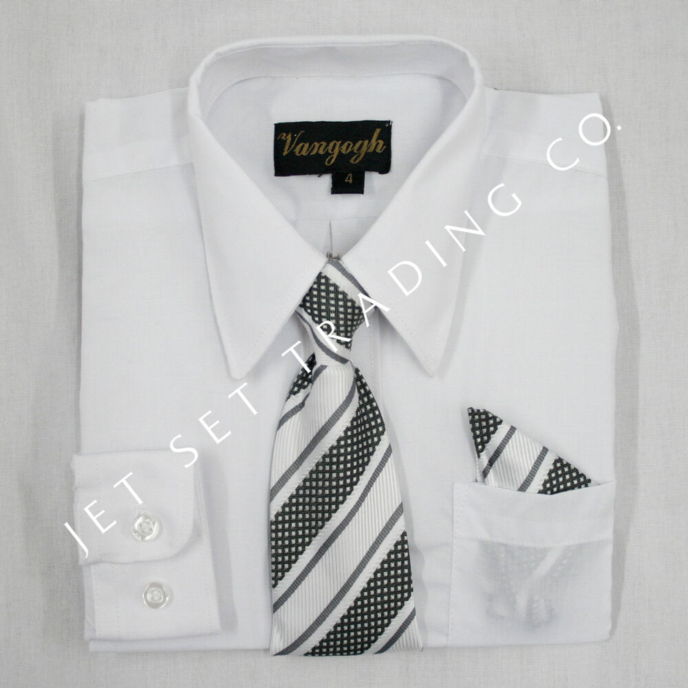 BOYS WHITE DRESS SHIRT WITH MATCHING TIE LONG SLEEVE Sizes ...