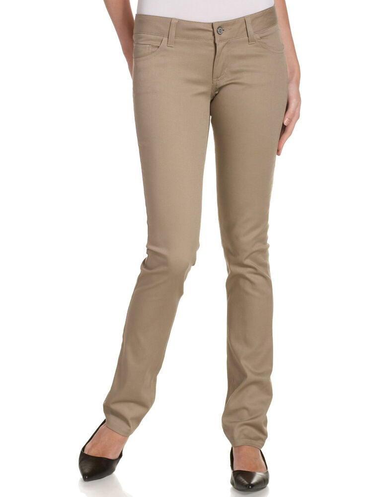 DICKIES GIRL KHAKI STRETCH SKINNY PANTS JUNIORS 5 POCKET BOTTOM ...
