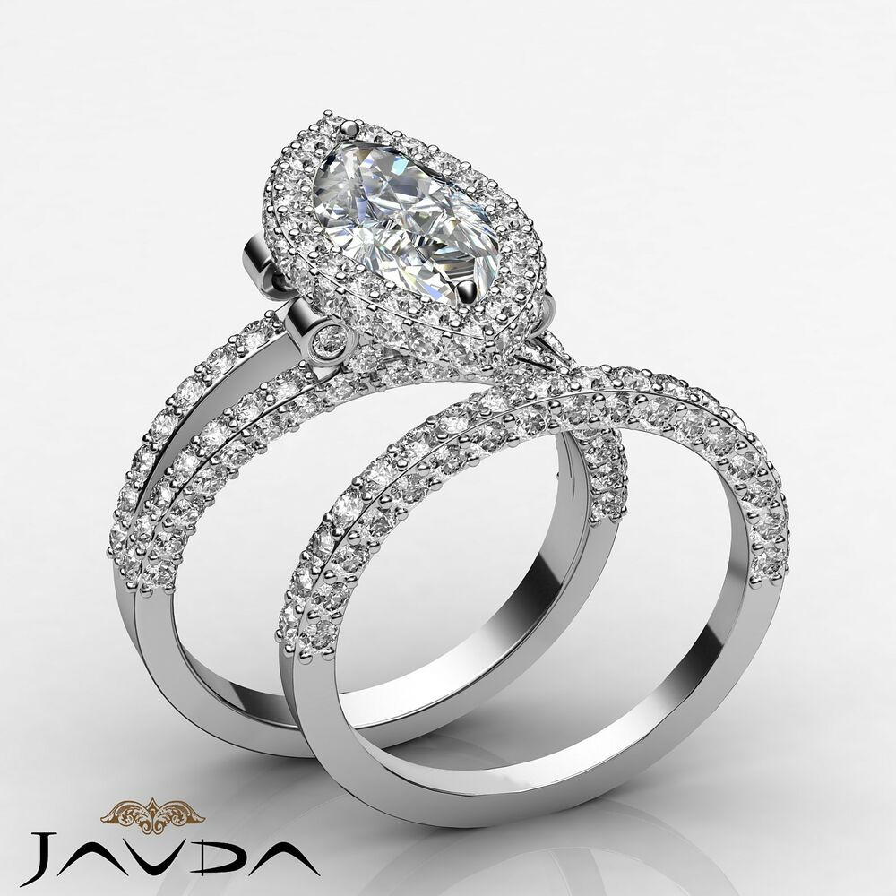 Marquise Diamond Engagement Halo Ring Gia I Si1 Bridal Set