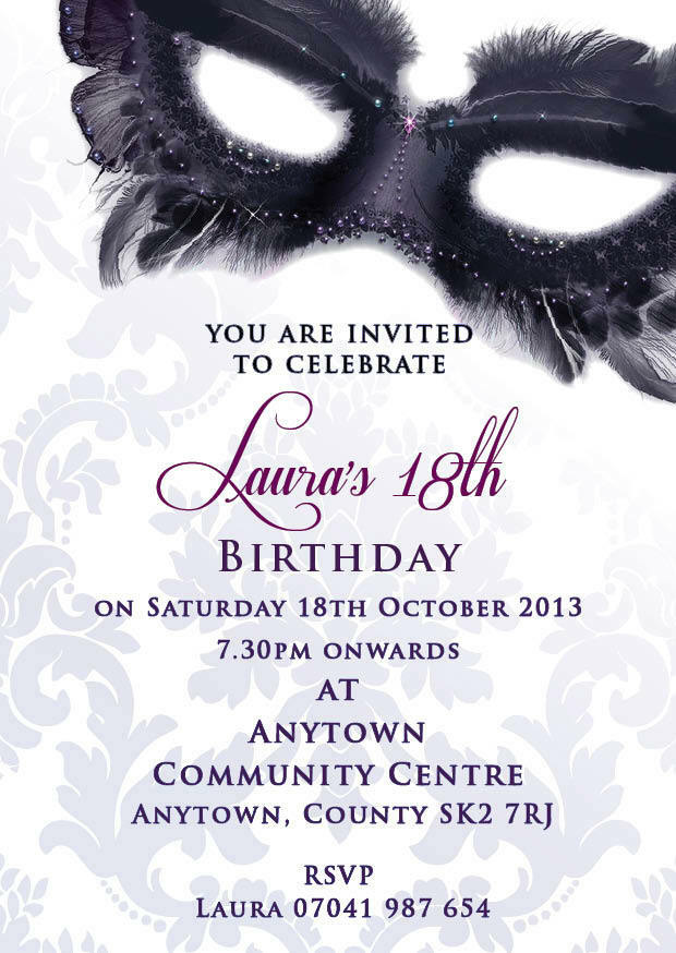 Birthday invitations 18th 21st 30th masquerade inc envelopes ebay for Maquerade invitations