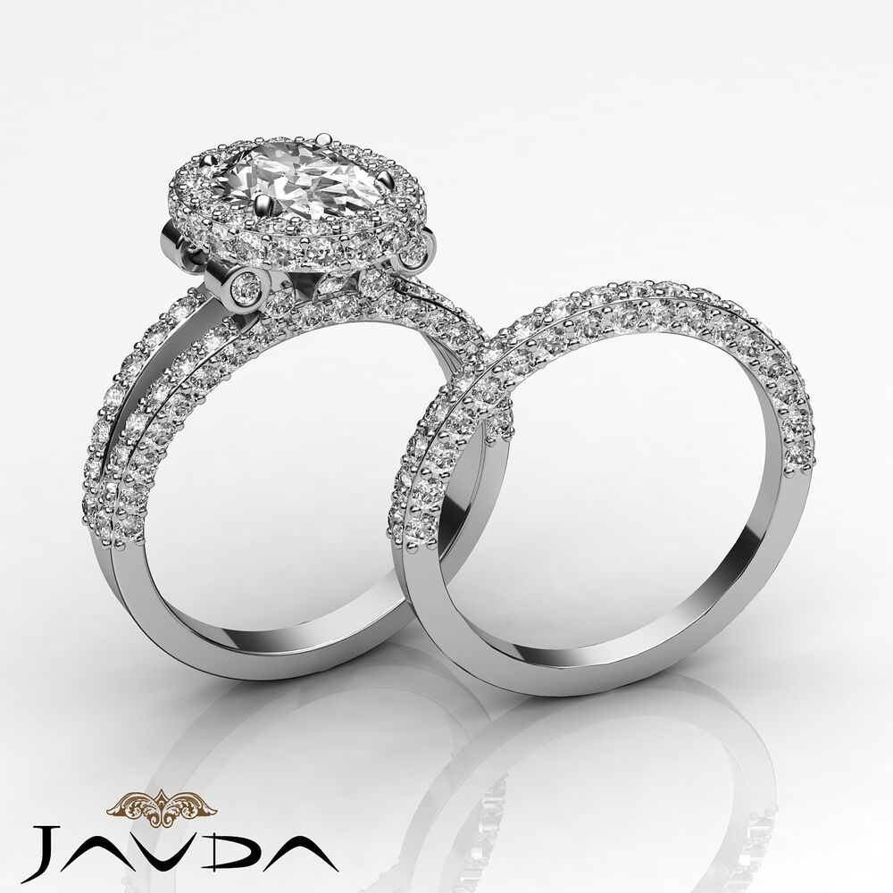 Bridal Set Oval Diamond Vintage Pave Engagement Ring Gia F