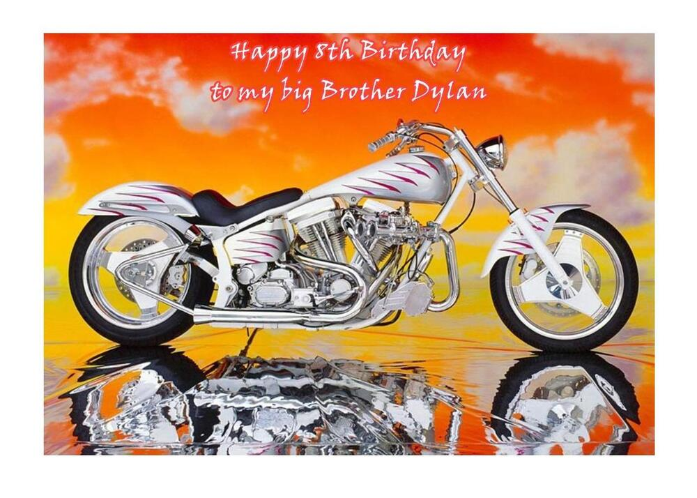Personalised a5 harley davidson birthday card any relation age husband