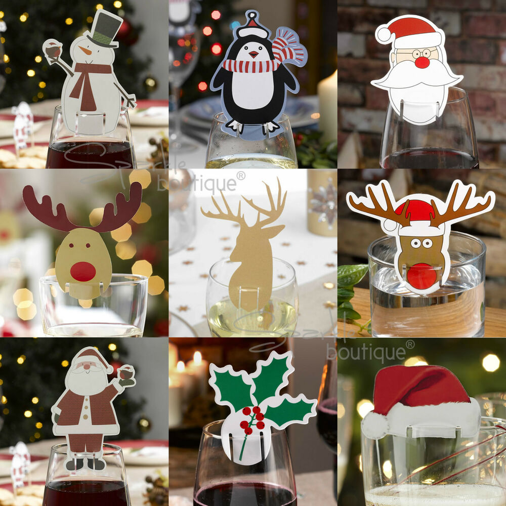 Christmas glass decorations place name cards x 10 xmas for Decoration names for christmas