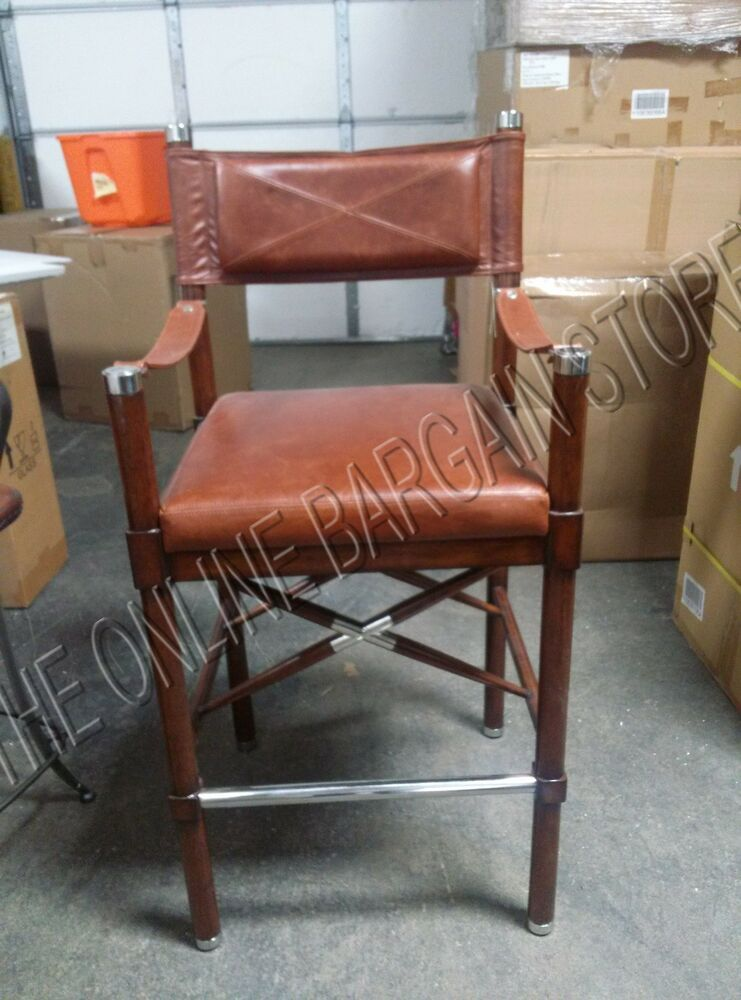 Frontgate Borneo Campaign Bar Height Stool Counter Chair