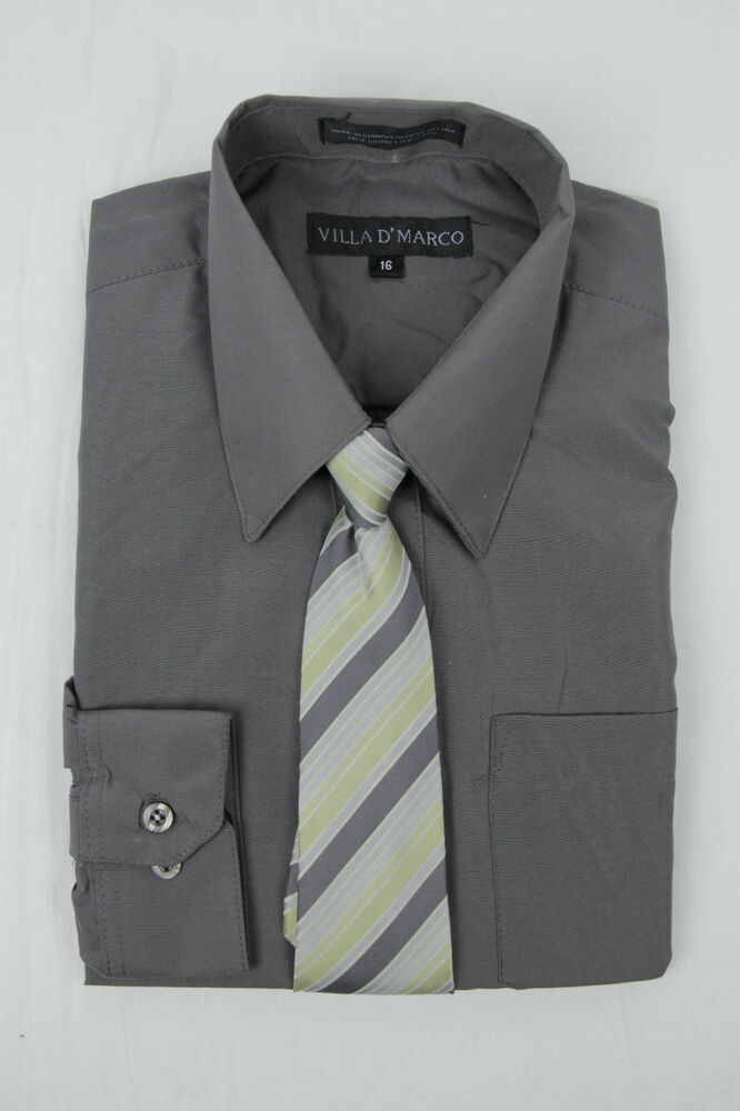 Boys Charcoal Dress Shirt With Matching Tie Long Sleeve