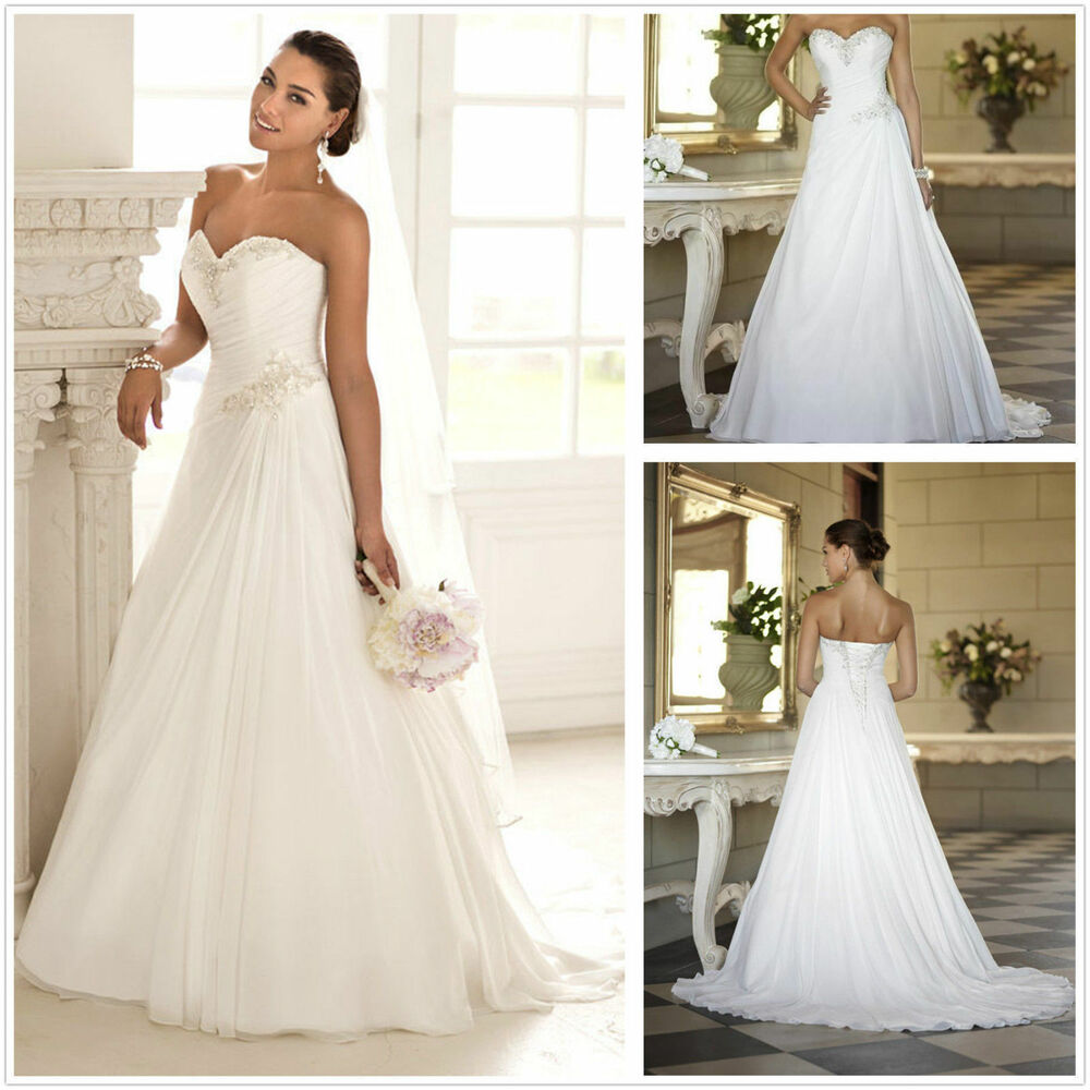 New strapless chiffon white ivory wedding gown bridal for Ebay wedding dresses size 12