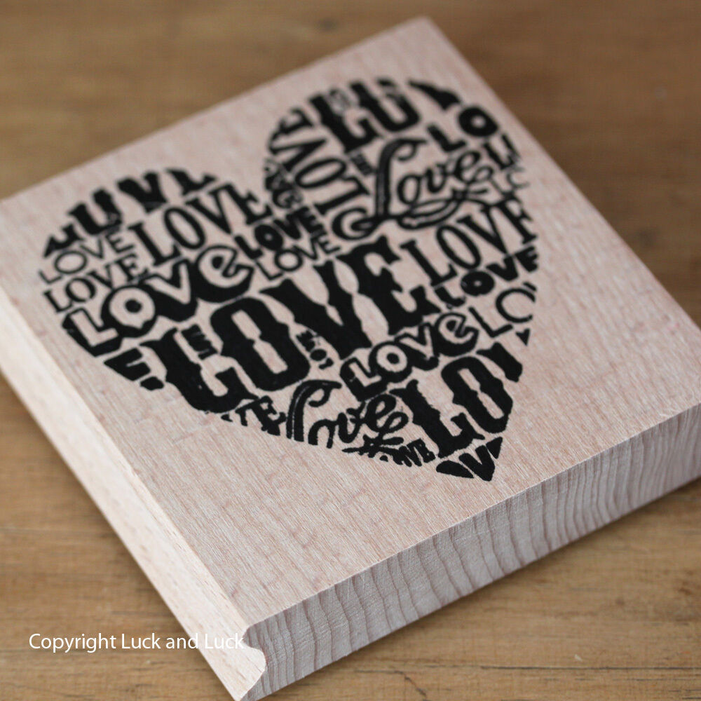 Large wooden rubber stamp heart love black or red inkpad for Custom craft rubber stamps