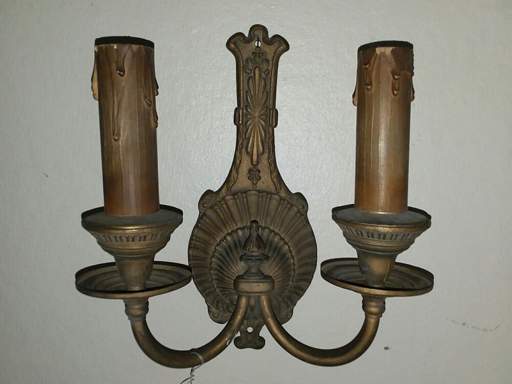 TWO ARM SCONCE WITH RIBBED BACK PLATE 5864 | eBay