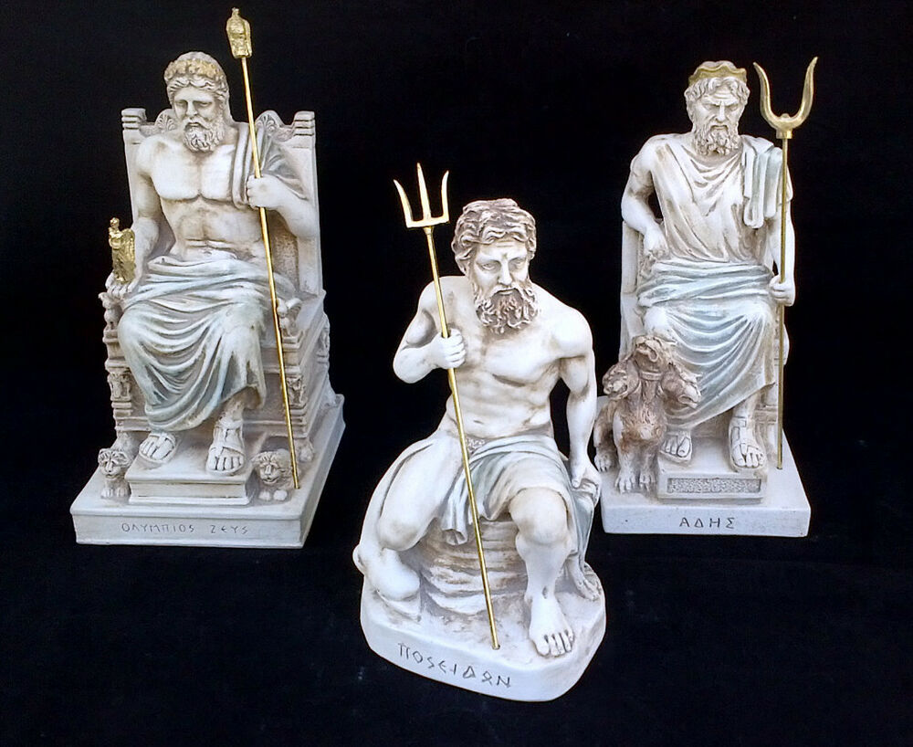 Zeus, Hades, Poseidon, Ancient Greek God brothers Statues ...