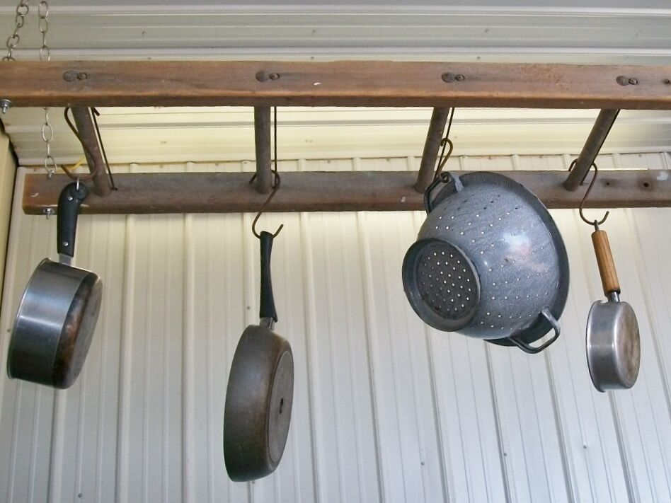 "4 Rung Pot Rack using Vintage Ladder - 48"" Long Wooden ..."