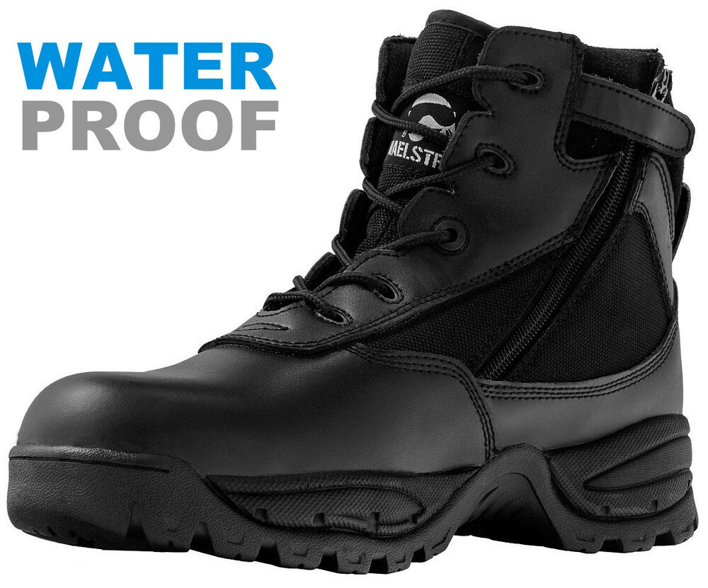 Mens 6'' Black Waterproof Tactical Police Duty Work Boots ... - photo #25