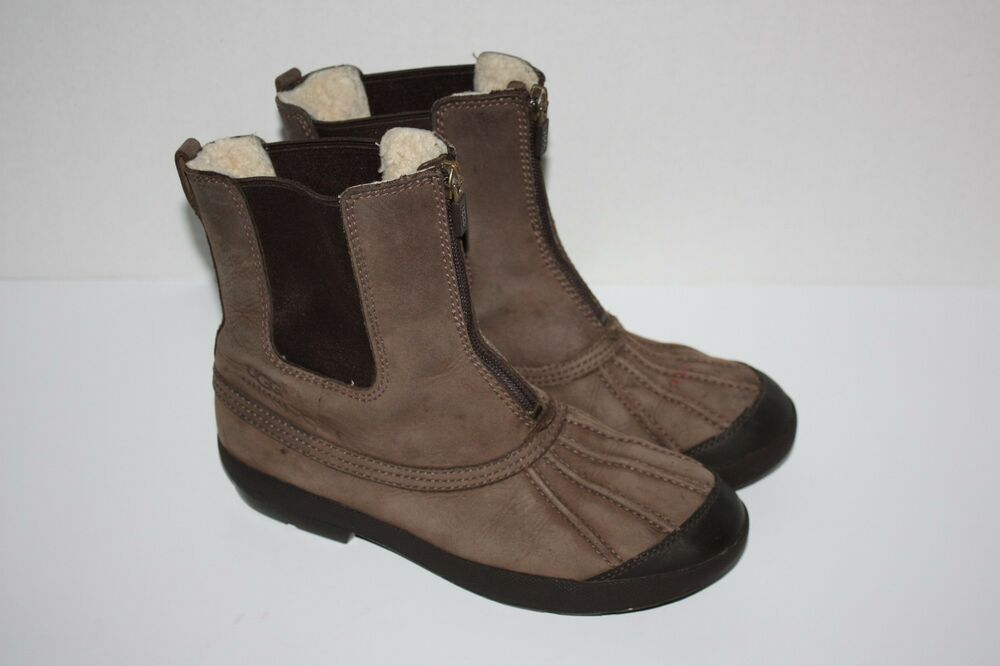 ugg australia brown suede leather boots size 4 ebay