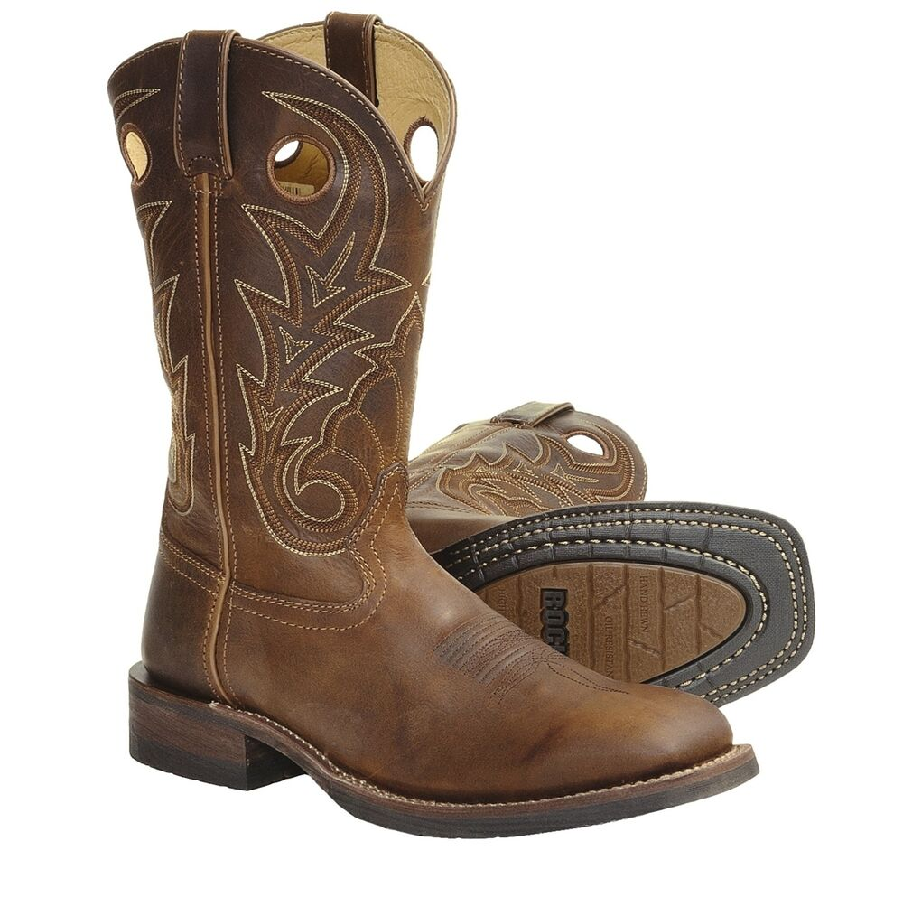 mens rocky welted leather western cowboy boots ebay