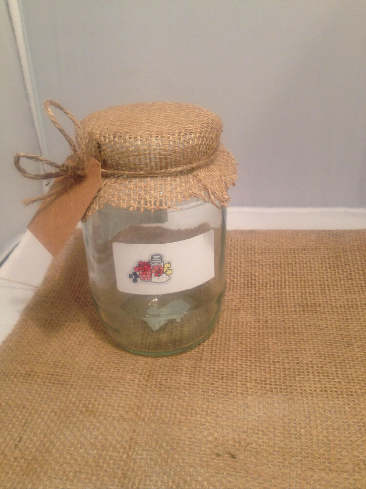 6 Large Hessian Jam Jar Covers Ebay