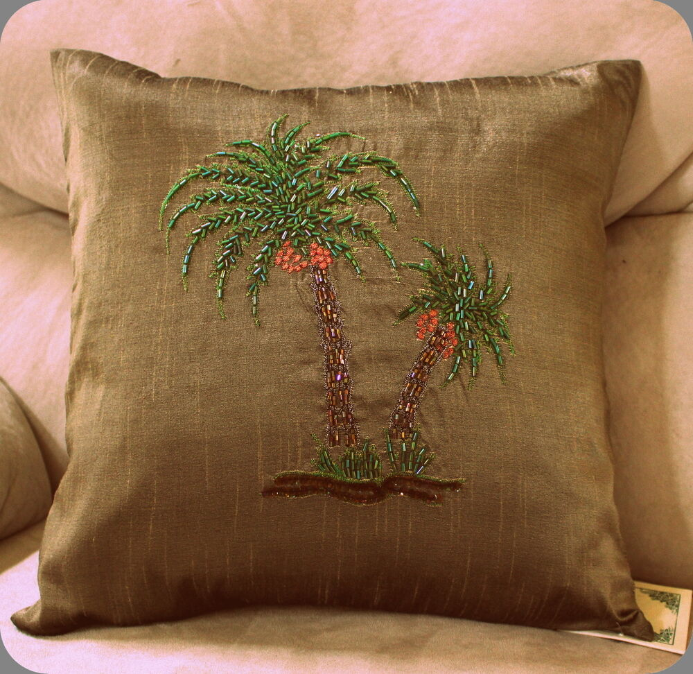 Decorative Pillow Palm Tree : Palm Tree Pillow Cover Dark Olive Beaded Decorator Sofa Bed Accent Decorative eBay