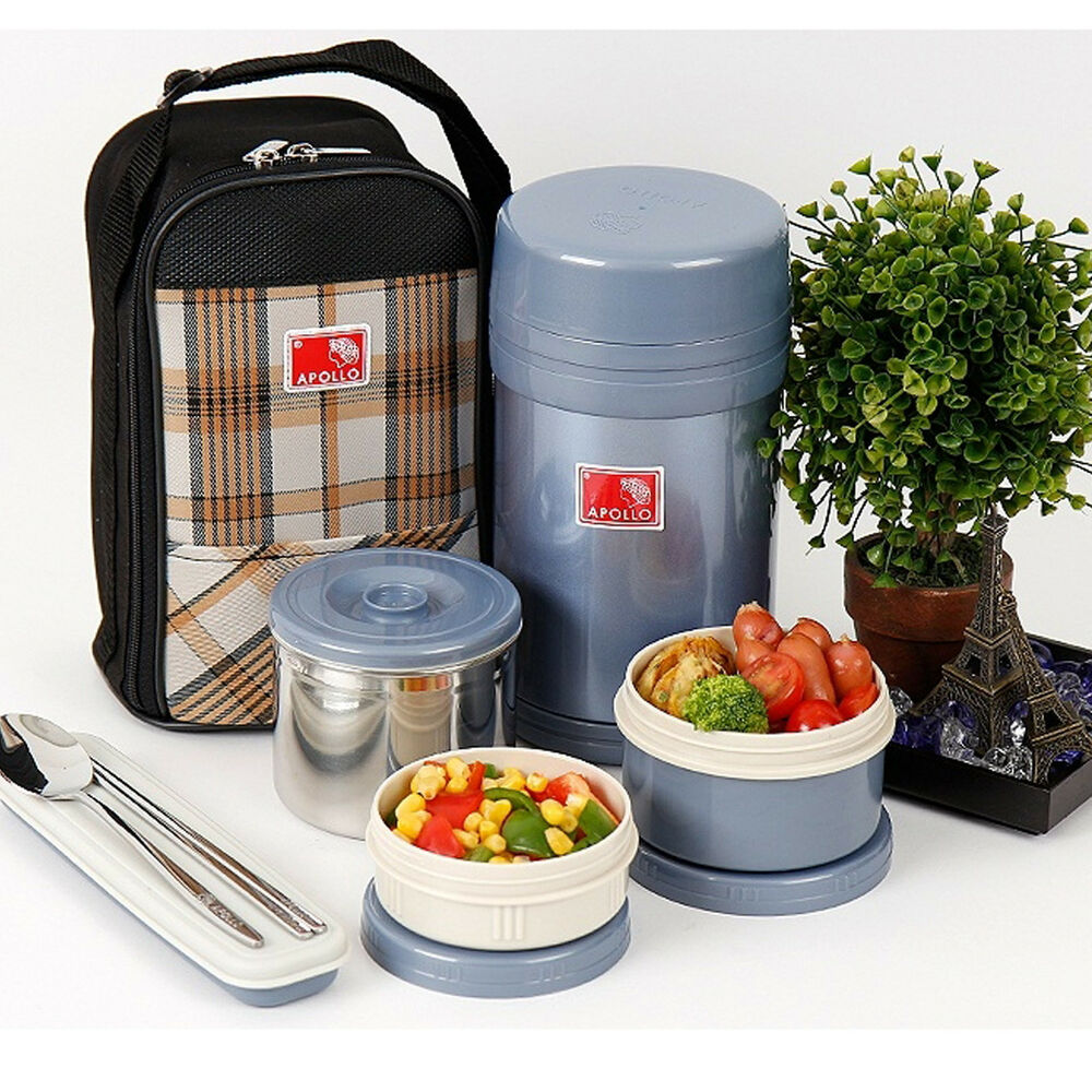 stainless steel thermal bento sealed lunch box bentoset insulated bag 950ml ebay. Black Bedroom Furniture Sets. Home Design Ideas